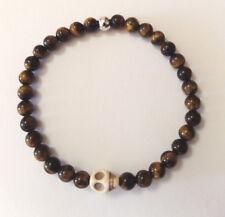 Men's Handmade Livio For Men Yellow Tiger Eye Gemstone Bracelet With  Skull Bead
