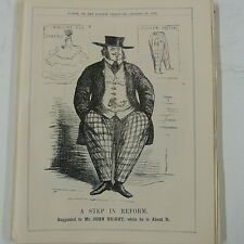 "7x10"" punch cartoon 1858 A STEP IN REFORM quakers / john bright"