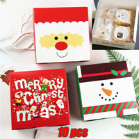 10pcs Christmas Candy Gift Boxes Cookie Dessert Packaging Bag Xmas Party Favors