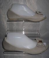 WOMENS ATMOSPHERE BEIGE SLIP ON CANVAS BALLERINAS SHOES SIZE:5/38(WS47)