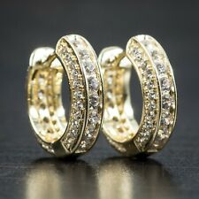Men's Fully Iced 5A Cz 14K Yellow Gold Sterling Silver Small Mens Hoop Earrings
