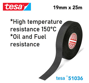 TESA 51036 Smooth PET Cloth Car Wire Loom Harness Tape Oil Fuel Heat Resistant