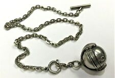 Vintage Sterling Silver Unique 6 Photo Locket Ball Necklace Pendant Signed WCJ