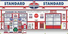 STANDARD OIL GAS PUMPS GAS STATION SCENE MURAL SIGN BANNER ART LARGE 3' X 6'