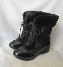 Avon Black Insulated Wedge Heel Lace-Up Boots 7M