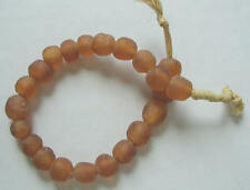 RARE LARGE FROST AMBER BROWN SEAGLASS VINTAGE AFRICAN TRADE BEADS LOT