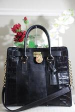 Michael Kors Black Embossed Leather Chain Hamilton Tote Bag (pu120