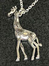 """African Giraffe Medium Charm Tibetan Silver 18"""" Necklace A"""