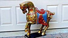ANTIQUE 19c CHINESE WOOD LARGE HAND-PAINTED GILT LACQUERED HORSE STATUE