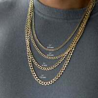 """14K Solid Yellow Gold Cuban Link Chain Curb Necklace 1.8MM-4.8MM 16""""-20"""""""