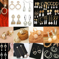 Beautiful Classic 925 Sterling Silver Plated Pearl Drop/Dangle Hook Earrings UK