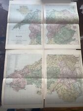 c1889 Wales 4 Parts British Isles Map Bacon Antique Vgc