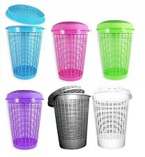 Circular Plastic Laundry Linen Washing Basket Bin Storage Hamper With Lid 6Color