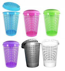 Circular Plastic Laundry Linen Washing Basket Bin Storage Hamper With Lid 6Color