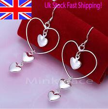 Silver 925 Sterling Triple Heart Earrings Dangle Drop Love Free Gift Bag