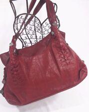 B MAKOWSKY BAG HOBO Shoulder Purse Soft RED LEATHER Silver Hardware  15 x 9