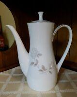 "Noritake China 6216 white Rosay Coffee Tea Pot 10"" tall Japan silver trim Vtg"