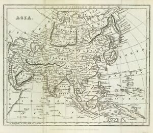 c1826 Map of ASIA Original engraved, south east Asia & New Holland antique