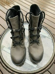 New Sorel Womens Phoenix Short Lace Waterproof Leather Ankle Boots - 7 Gray