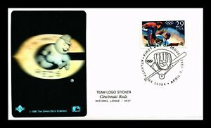 OLYMPIC BASEBALL FDC CINCINNATI REDS TEAM LOGO STICKER PASTED ON CACHET US COVER