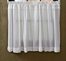 Shabby French Country Chic White Ruffled Tiers Sheer Ruffle Panel Curtains 36