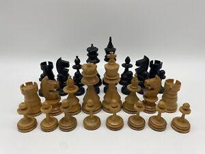 Retro Antik Holz Schachfiguren Schach Figuren KH 100mm mit Schatulle - (XF1)