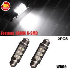 2x Festoon 36mm 6-LED White Light Bulbs - License Plate Lights - SMD C5W 6418 US
