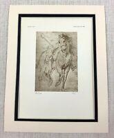 1927 Antik Aufdruck Zeichnung von ein Pferd Reiter Kunst Sir Anthony Van Dyck