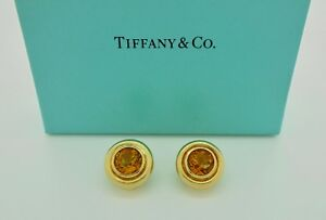 Authentic Vintage Tiffany & Co. Paloma Picasso Citrine 18k Gold Clip Earrings