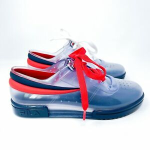 MELISSA + FILA Limited Edition Fashion SNEAKERS clear red blue rubber 6
