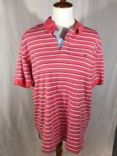 Mens XL Tommy Hilfiger polo cotton shirt Peach white blue stripes