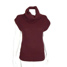 CLUB MONACO 100% Cashmere Red Thick Knit Sleeveless Turtleneck Sweater XS 6930
