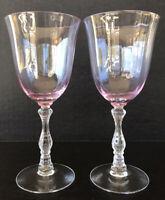 Vintage Fostoria Wilma Pink Claret Wine Glasses Stem 6016 Elegant Glass (2)