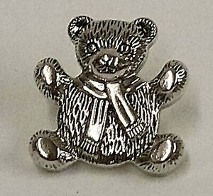 21mm Metallic Silver Teddy Bear Buttons - Choice of Pack Size
