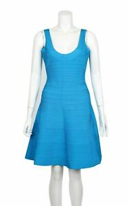 HERVE LEGER Blue Eva Mini Dress, Size M