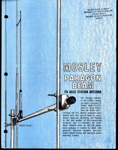 Vintage MOSLEY Paragon Beam CB Base Stat. Antenna Print Ad Sales Spec Sheet