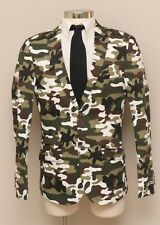 NWT Mens Medium WD NY Black Green Camouflage Cotton Blend Blazer