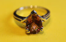 Secondhand 9ct White Gold Mystique Topaz Pear Shape Ring Size M 1/2.