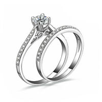 2Pcs/Set Women Wedding Engagement Rings Silver Plated Zirconia Crystal Ring Chic
