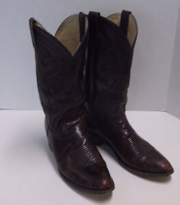 Vintage Mens Dan Post All Leather Western Cowboy Boots, Cordovan, 10.5D