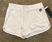 FILA Heritage Velour Shorts Cloud Dancer White Women's Size XL Running Athletic