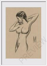 ORIGINAL  FEMALE POSE PORTRAIT FIGURE 5x7 MIXED MEDIA DRAWING