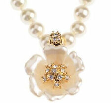 Nolan Millers Simulated Pearl Crystal Flower Enhancer Necklace