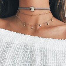 Women Shining Three Layers Diamond Moon Sun Star Pendant Necklace Chain Choker.