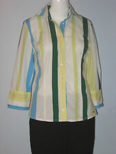 ESPRIT Size M White Blue Green Yellow Striped Long Sleeve Button-Down Blouse