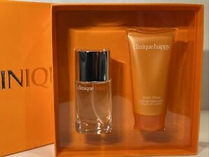 Clinique Twice As Happy Gift Set 1oz Perfume Spray 2.5 Body Cream NIB Free Ship