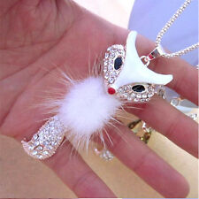 Women Style Diamond Long Chain Owl Fox Pendant Sweater Necklace Fashion White