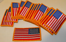 Lot 25 USA Flag LEFT Iron-On Patch AMERICAN ARMY Military Gold Border 3.5