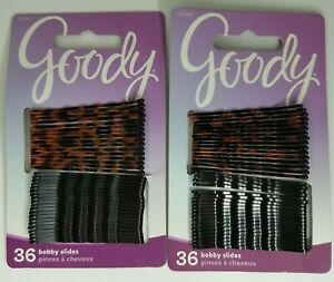 Goody Hair Bobby Pins/Slides 36 ct Lot of 2 #07087 Black & Tortoise Brown