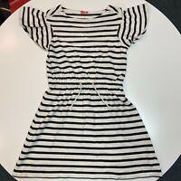 Women's Kate Spade Dress Size XS Black White Stripe Butterfly Sleeve Tie Waist